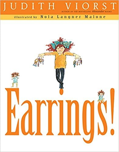 Book cover for Earrings! as an example of opinion writing mentor texts