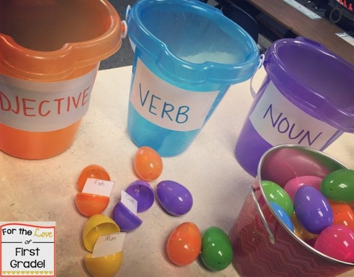 Easter eggs in buckets labelled objective, verb, noun.