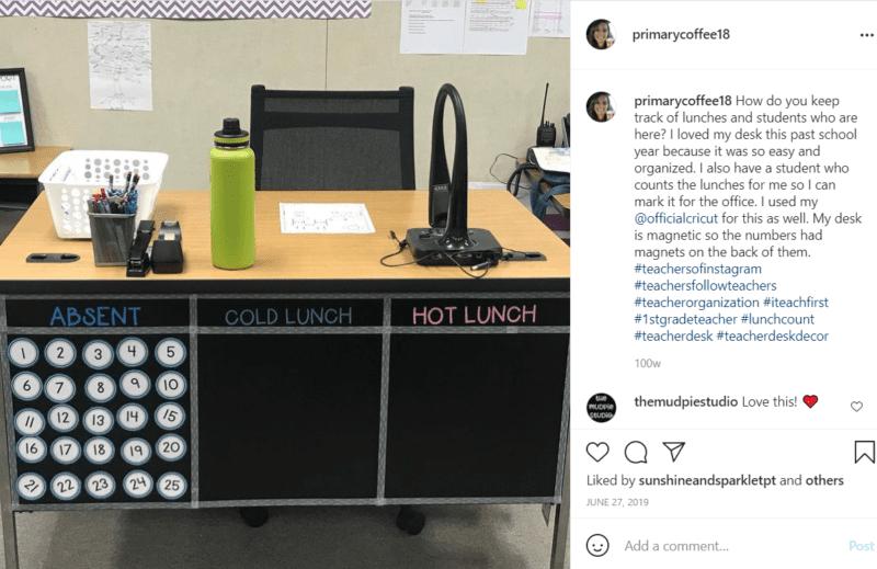 Teacher desk, green water bottle and laptop sharing lunch count ideas
