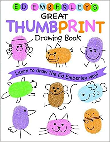 Book cover for Ed Emberley's Great Thumbprint Drawing Book as an example of drawing books for kids