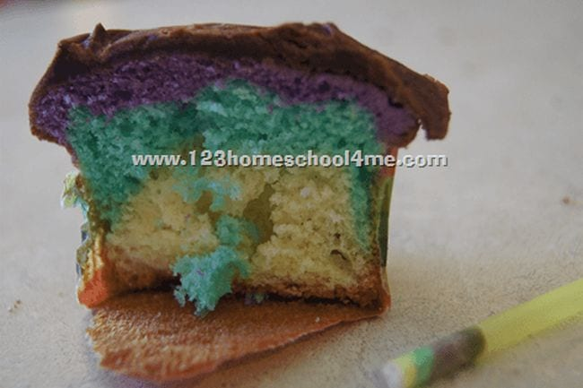 Layered cupcake with a plastic straw used to take a core sample (Edible Science)