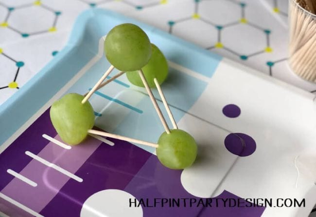 Molecule model made from green grapes and toothpicks (Edible Science)