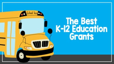 The best k-12 education grants on a sky blue background and a school bus.