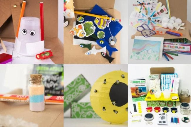 Collage of Green Kids Crafts projects and activities (Educational Subscription Boxes)