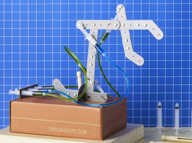 Hydraulic claw student activity from Tinker Box (Educational Subscription Boxes)