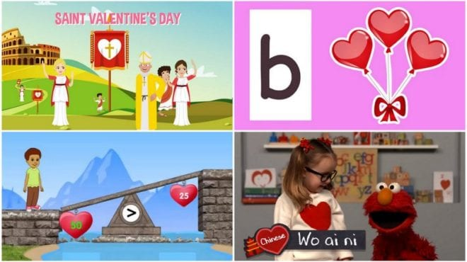 Collage of stills from educational Valentine's Day videos