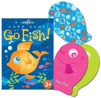 Eeboo Go Fish Card Game box with goldfish and bubbles on the cover and sample cards of pink and green