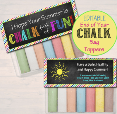 End of the year student gifts of sidewalk chalk in bags, end of year gift for students