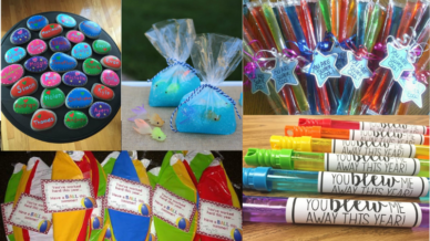 end of year student gifts: bubble wands, painted stones, slime, beach balls, ice pops