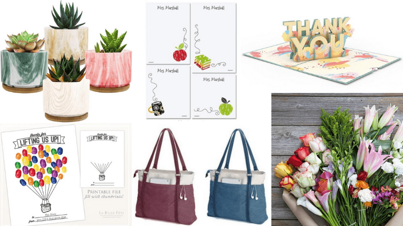 Collage of end of year teacher gifts including succulents and handbags.