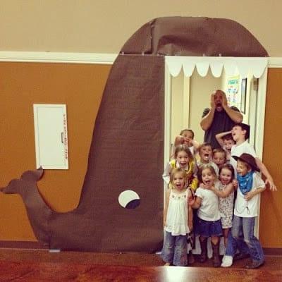"""Door decoration of a whale """"eating"""" the doorframe. -- classroom doors"""