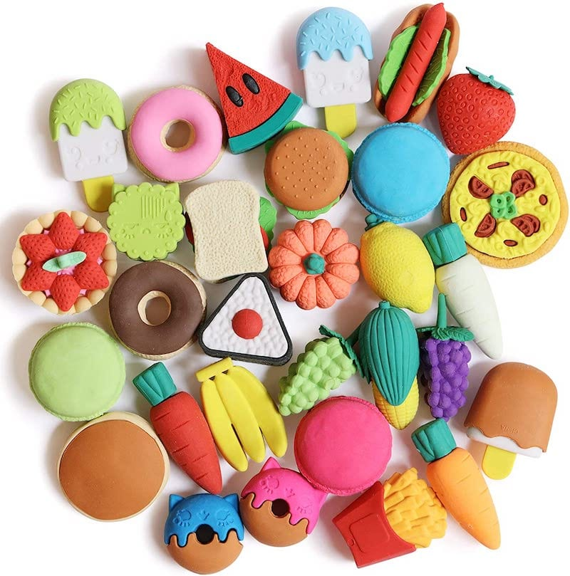 Colorful food erasers