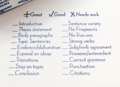 Essay grading checklist stamp for english teachers