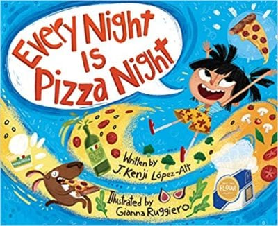 Book cover for Every Night is Pizza Night example of nutrition books for kids