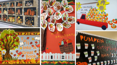 Collage of fall bulletin boards