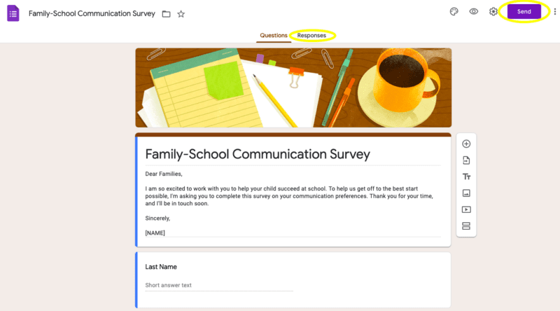 Screenshot of Family-School Communication Survey Google Form