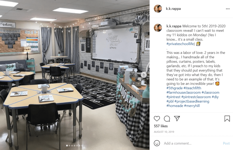 A classroom largely decorated in black and white plaid is shown with desks, a whiteboard, bulletin boards, and rug all fitting a farmhouse motif.