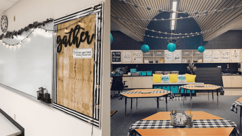 Two classrooms using farmhouse decor in their seating and bulletin boards