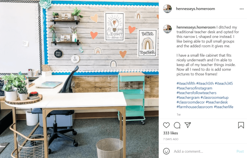 Light, pleasant colors are used in farmhouse classroom décor setting while a low profile corner desk with minimal shelving is displayed to indicate the teacher's openness to students.