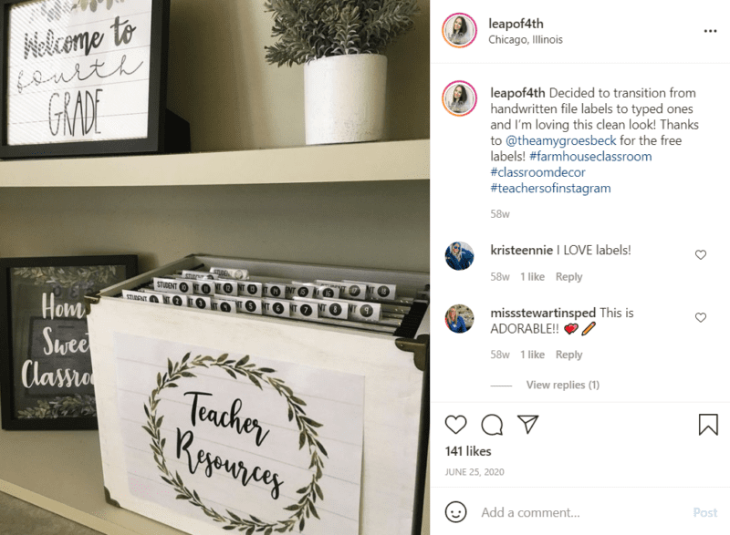 """Picture frames with the phrases """"Home sweet classroom"""" and """"Welcome to fourth grade"""" sit beside a black and white filing folder farmhouse classroom décor"""