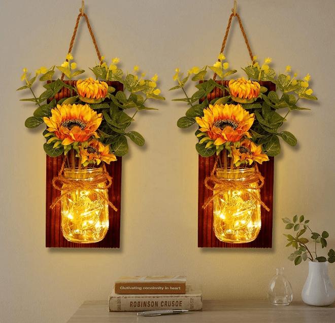 Wall hangings featuring mason jars farmhouse classroom décor ideas.