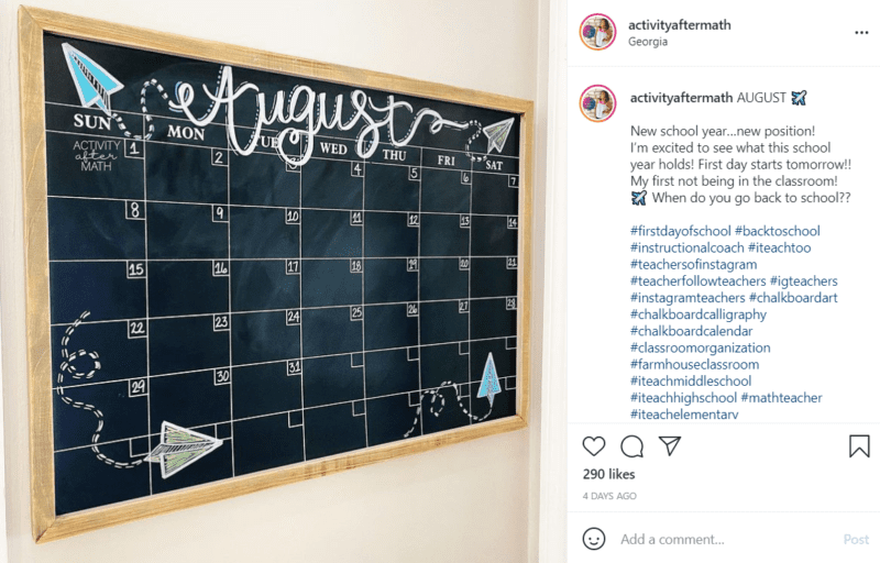 A month of August calendar written onto a black chalkboard with whimsically flying paper airplanes drawn in each corner.