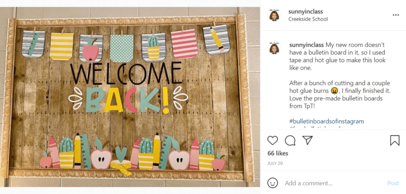 """A farmhouse inspired classroom bulletin board that says """"Welcome Back."""""""