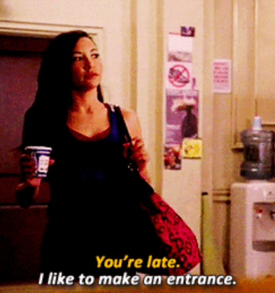 """Santana Lopez arriving to class with coffee and text """"You're late. I like to make an entrance."""""""