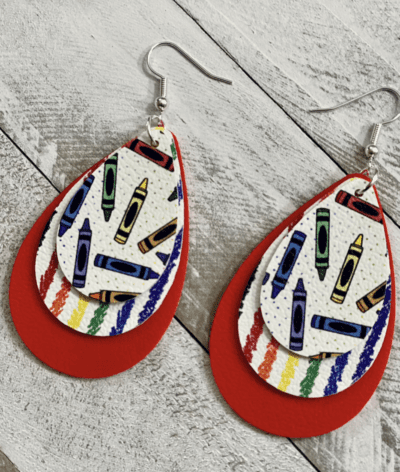 Faux leather crayon earrings with 3 layers