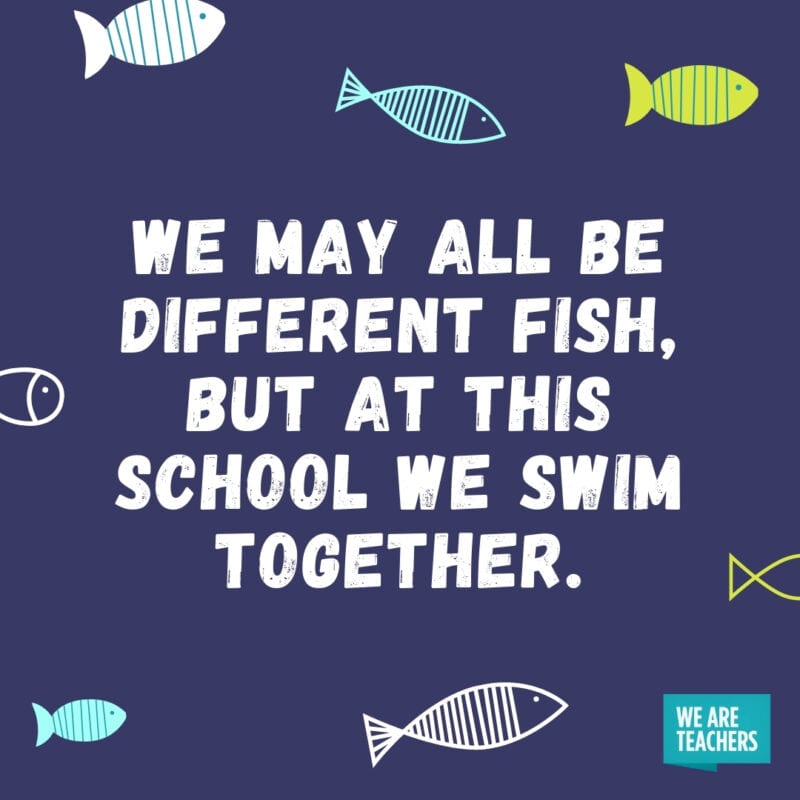 We may all be different fish, but at this school we swim together.
