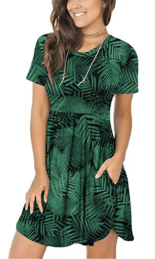 Green fern short sleeve dress