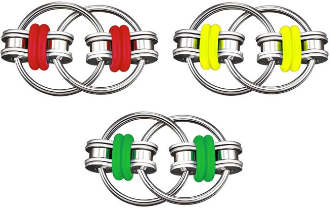 Chain fidget toys in red, yellow, and green