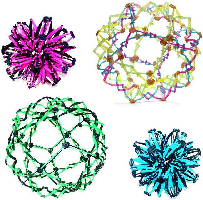 Multiple colors of miniature plastic Hoberman spheres
