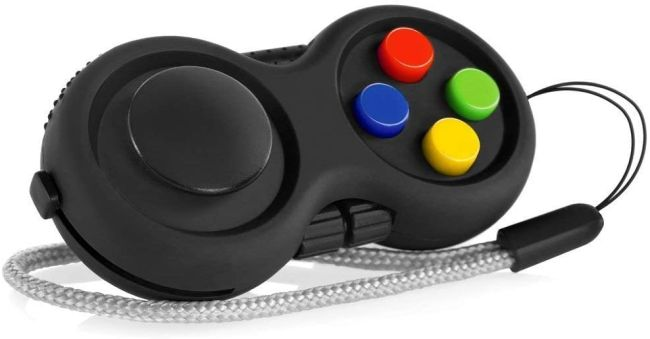 Fidget toy shaped like a retro game controller
