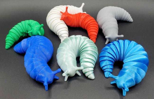 Colorful plastic slugs with flexible segmented bodies