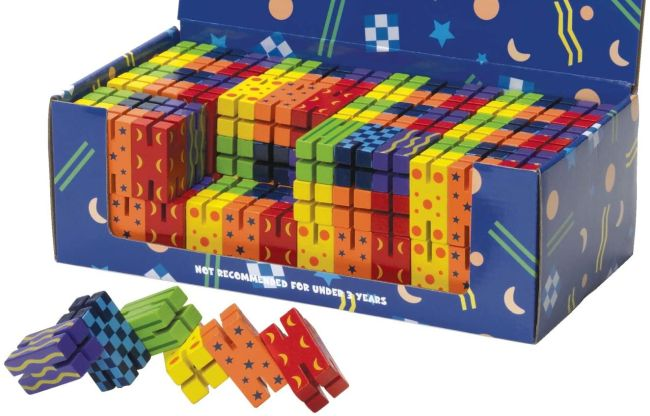 Colorful wooden Whatz'It fidget toys in a box