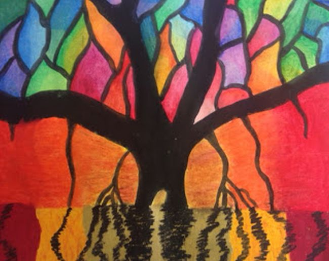 Colorful banyan tree reflected in water made using oil pastels