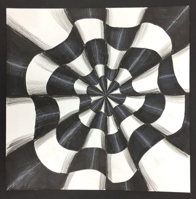 Series of cones emanating from a central perspective, sketched and shaded in black and white (Fifth Grade Art)