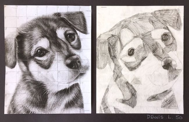 Photo of a dog with a superimposed grid, next to a drawing of the dog using a grid (Fifth Grade Art Projects)
