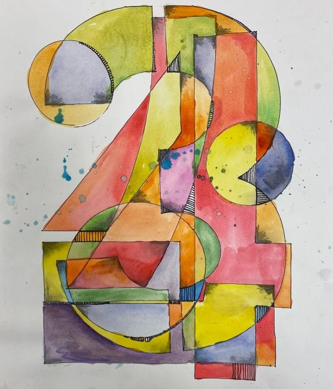 Numeral three with various shapes and patterns in the style of Jasper Johns