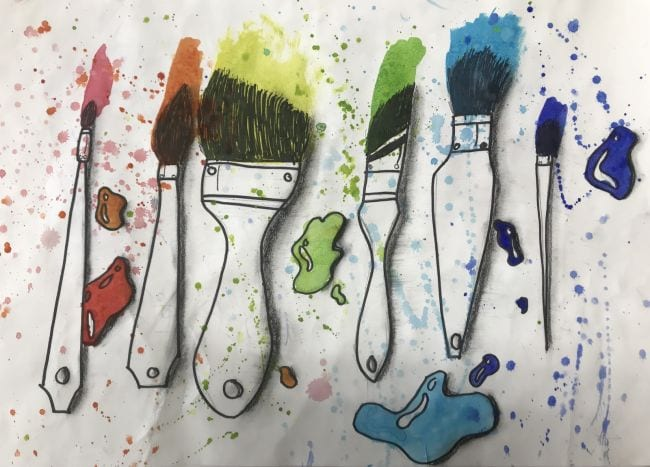 Drawing of various types of paintbrushes, splattered with paint drops (Fifth Grade Art)
