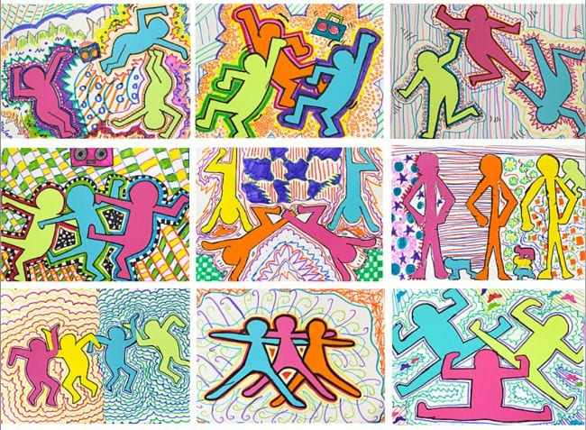 Collage of colorful stick figures dancing in the style of Keith Haring (Fifth Grade Art Project)