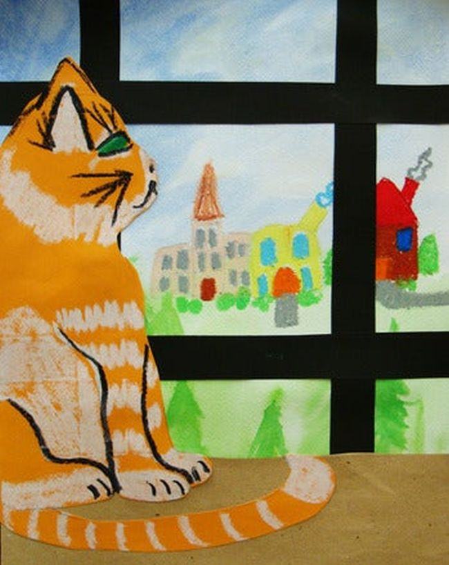 Paper cat looking out a window at a castle and other items (Fifth Grade Art)