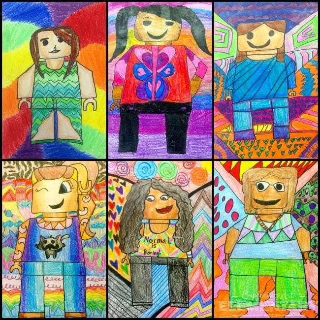 Colorful blocky portraits of fifth grade art students drawn in the style of LEGO minifigures