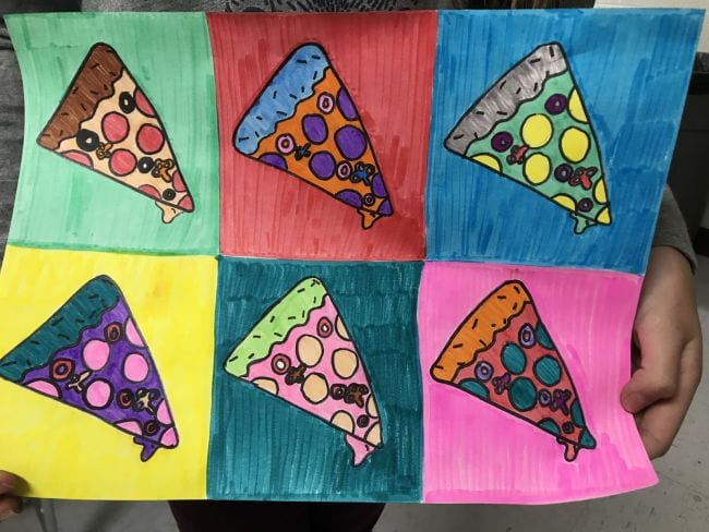 Slice of pizza illustrated in six different colors, in the style of Andy Warhol