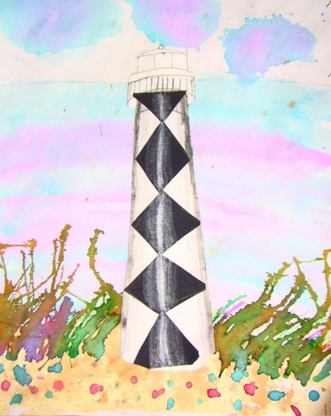 Black and white lighthouse standing on a beach with a watercolor pastel sky