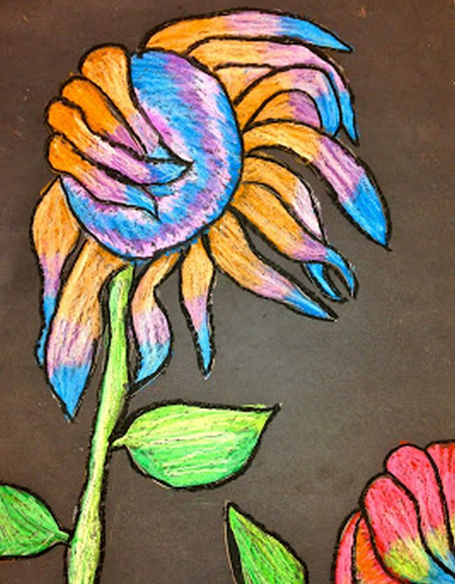 Wilting sunflower drawn with oil pastels on black paper (Fifth Grade Art Projects)