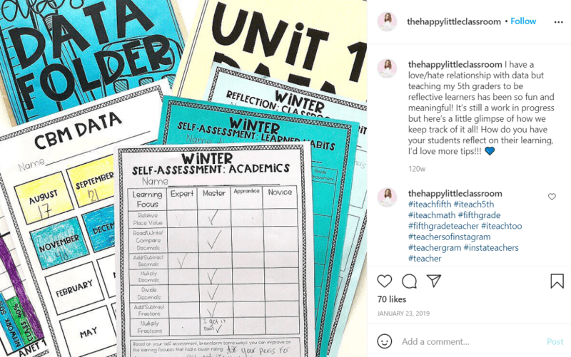 Still of fifth grade assessment ideas mark it with a student data binder from Instagram