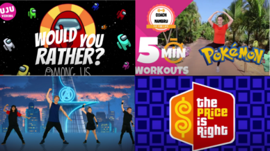 Collage of screenshots of videos for 21 Fifth Grade Brain Breaks To Energize Your Classroom