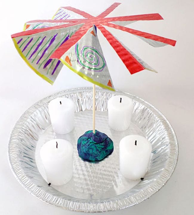 Pinwheel mounted over a tin plate with four candles underneath (Fifth Grade Science)